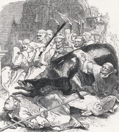 """Illustration from """"Wagner the Wehr-Wolf"""" as It Terrorises Religious Types in a Church"""