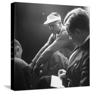 Golfer Byron Nelson Talking to Sportswriters in the Locker Room by Gabriel Benzur