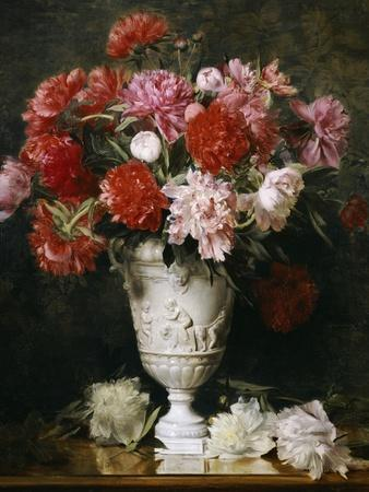 Peonies in a Vase on a Table
