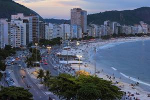 Copacabana at Night, Rio De Janeiro, Brazil, South America by Gabrielle and Michael Therin-Weise