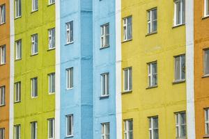 Coloured Apartment Houses, Siberian City Anadyr, Chukotka Province, Russian Far East, Eurasia by Gabrielle and Michel Therin-Weise