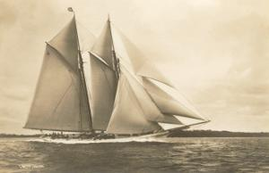 Gaff-Rigged Schooner with Multiple Jibs