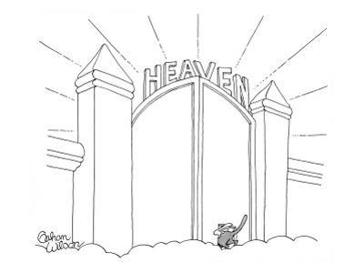 Cat enters Heaven through a cat door. - New Yorker Cartoon by Gahan Wilson