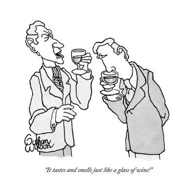 """""""It tastes and smells just like a glass of wine!"""" - New Yorker Cartoon by Gahan Wilson"""