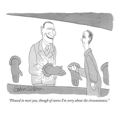 """""""Pleased to meet you, though of course I'm sorry about the circumstances."""" - New Yorker Cartoon by Gahan Wilson"""