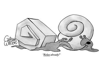 Two snails are talking. One has a smooth round shell and the other has a a… - New Yorker Cartoon by Gahan Wilson