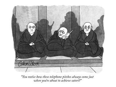 """""""You notice how these telephone pitches always come just when you're about…"""" - New Yorker Cartoon by Gahan Wilson"""