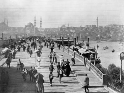 Galata Bridge Spanning Golden Horn to Blue Mosque