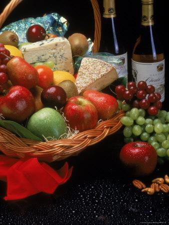 Assortment of Fruits and Wine