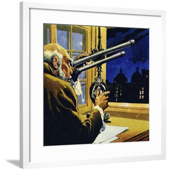 Galileo Created a Telescope and Discovered Four Satellites of Jupiter--Framed Giclee Print