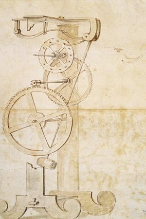 Drawing of Galileo's Pendulum Clock, Manuscript by Galileo Galilei (1564-1642), 85 Gal, F 50 R