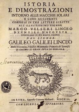 Title Page of History and Demonstrations Concerning Sunspots and their Properties by Galileo Galilei