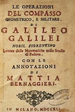 Title Page of Operations of the Geometric and Military Compass by Galileo Galilei (1564-1642) by Galileo Galilei
