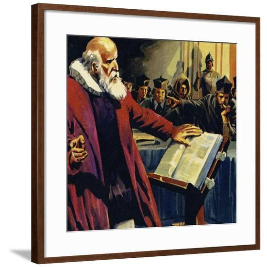 Galileo's Discovery That the Earth Revolved around the Sun Was Considered Herasy--Framed Giclee Print