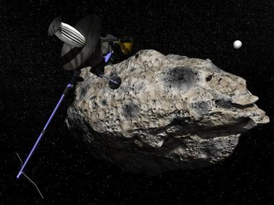 Galileo Spacecraft Discovering Asteroid 243 Ida and its Moon, Dactyl