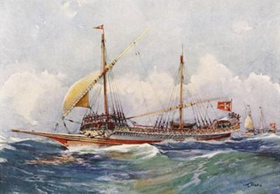 Galley of Malta with Wind in its Sails (17th Century), Watercolour by Albert Sebille (1874-1953)