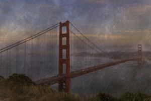Golden Gate Bridge Rain Painterly by Galloimages Online