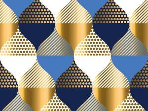 Navy Blue and Gold Luxury Geometry Pattern. Seamless Pattern Vector Illustration for Background, Fa by Galyna_P
