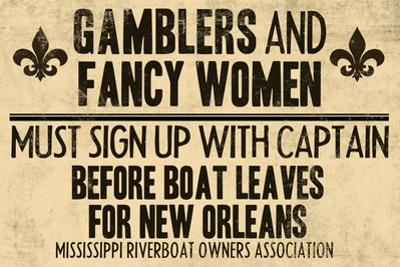 Gamblers and Fancy Women Sign Up Vintage New Orleans Plastic Sign