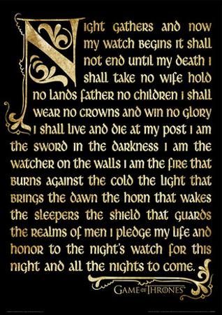 Game Of Thrones (Season 3 - Nightwatch Oath) Television Poster