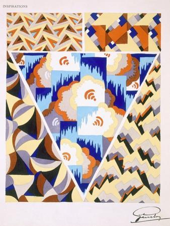 Interior Design Pattern, Plate 2 from 'Inspirations', Published Paris, 1930S (Colour Litho) by Gandy