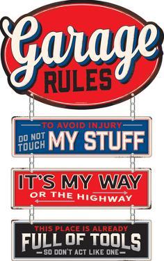 Garage Rules Die Cut Linked Tin Sign