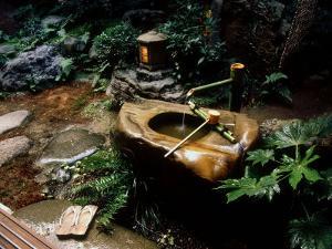 Garden Basin, Old Ryokan (Inn), Kyoto, Japan