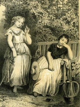 Garden Girls 19th Century Bench Flowers Hat Closed Eyes Book