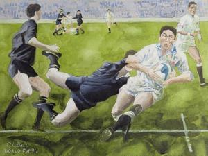 Rugby Match: England v New Zealand in the World Cup, 1991, Rory Underwood Being Tackled by Gareth Lloyd Ball
