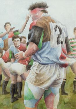 Rugby Match: Harlequins v Northampton, Brian Moore at the Line Out, 1992 by Gareth Lloyd Ball