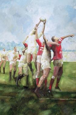 Rugby Match: Llanelli v Swansea, Line Out, 1992 by Gareth Lloyd Ball