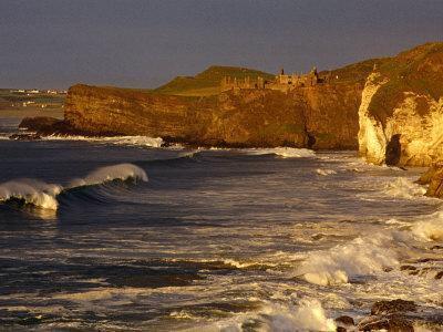 14th Century Dunluce Castle on Coastal Cliffs, Antrim, Northern Ireland