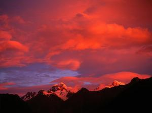 Alpenglow from Reflections off Snow Peaked Mountains, Mt. Tasman, New Zealand by Gareth McCormack