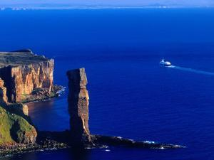 Passenger Ferry Passing Seastack Formation Known as Old Man of Hoy, Wester Ross, Scotland by Gareth McCormack