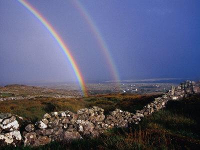 Rainbow Over Stone Walls, Ireland