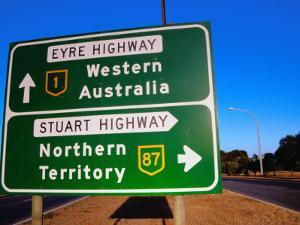 Road Sign for Eyre and Stuart Hghways, Australia by Gareth McCormack
