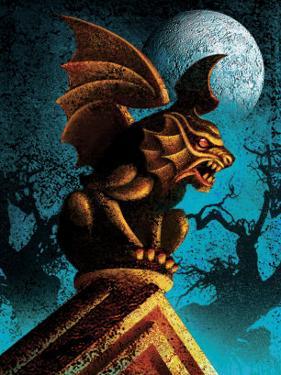 Gargoyle Against Night Sky