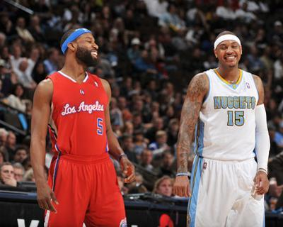 Los Angeles Clippers v Denver Nuggets: Baron Davis and Carmelo Anthony by Garrett Ellwood