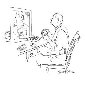 Man holding cards, sits in front of mirror practicing his poker face. - New Yorker Cartoon by Garrett Price