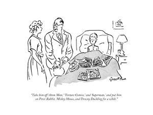 """Take him off 'Atom Man,' 'Torture Comics,' and 'Superman,' and put him on…"" - New Yorker Cartoon by Garrett Price"
