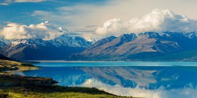 Aorkai (Mount Cook) and the Southern Alps Reflected in the Still Waters of Lake Pukaki by Garry Ridsdale