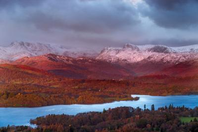 Looking across Lake Windermere to Langdale Pikes on a Winters Morning, Lake District National Park by Garry Ridsdale