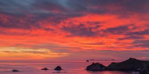 Looking South-East from New Zealand's Coromandel Peninsula to the Alderman Islands at Dawn, Waikato by Garry Ridsdale