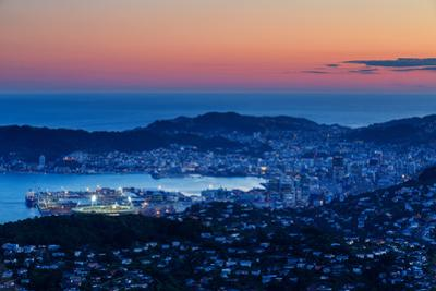 Overlooking the City of Wellington, its Harbour and Beyond to the Cook Straits at Dusk, Wellington by Garry Ridsdale