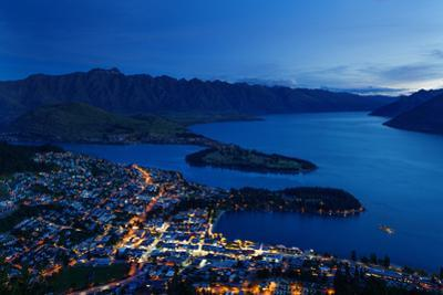 Queenstown at Dusk on the Shore of Lake Wakatipu with the Remarkables Mountain Range Beyond, Otago by Garry Ridsdale