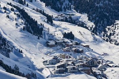 The Austrian Skiing Village of Obergurgl Covered in Winter Snow at the End of the Otztal Valley