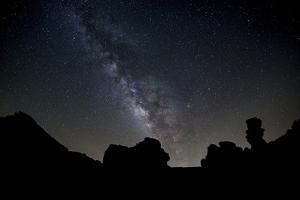 The Milky Way Arches High in the Night Sky Above Roques De Garcia in Teide National Park by Garry Ridsdale