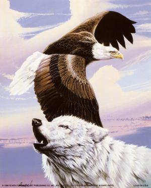 Eagle in Flight with Wolf by Gary Ampel