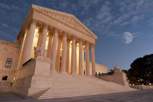 A Night Shot of the Front of the US Supreme Court in Washington, Dc. by Gary Blakeley