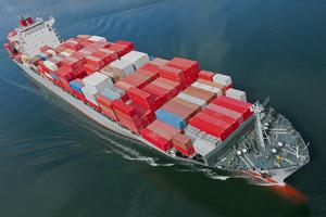 An Aerial View of a Container Ship. by Gary Blakeley